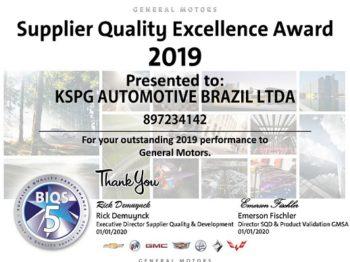 Kolbenschmidt (KS) recebe prêmio de Excelência da Qualidade de Fornecedores da GM