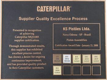 Kolbenschmidt (KS) conquista prêmio Ouro como fornecedora de qualidade pela Caterpillar com melhor índice de avaliação
