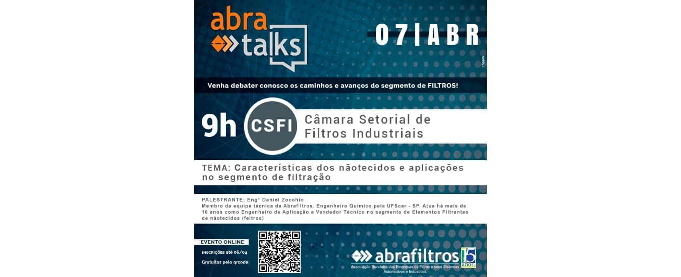 """Nãotecidos e aplicações em filtração será um dos temas do """"Abra Talks"""" em abril"""
