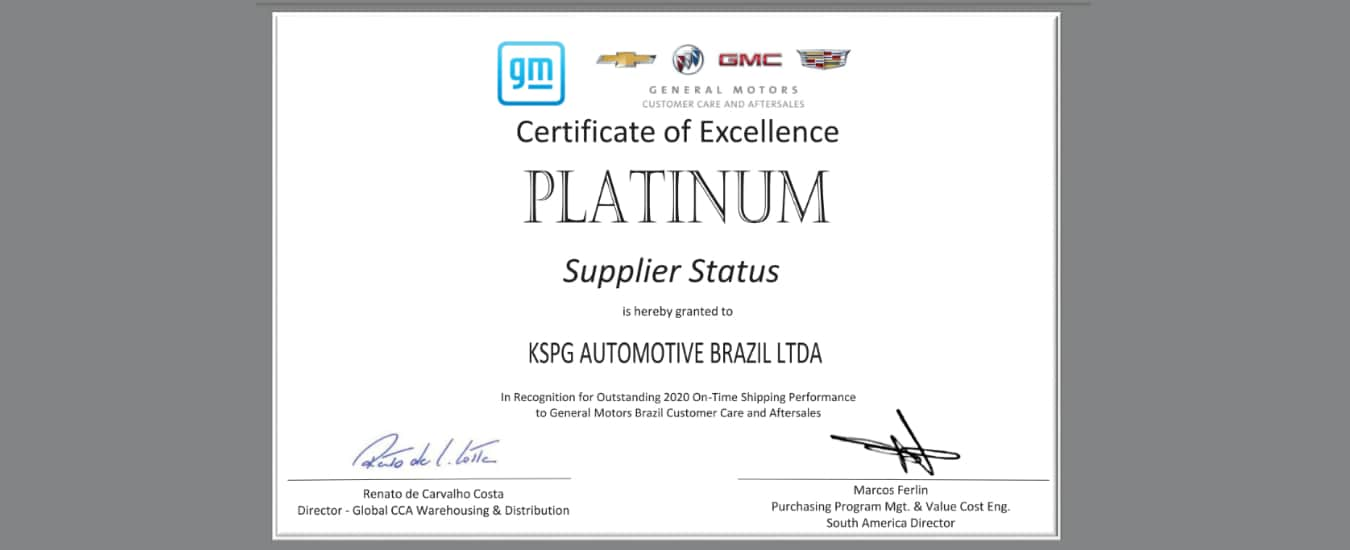 Kolbenschmidt (KS) conquista prêmio de Excelência da Qualidade de Fornecedores da GM no segmento aftermarket